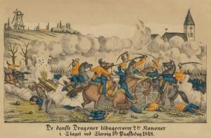 Danske dragoner tilbageerobrer to kanoner i Slaget ved Slesvig i 1848 Anonymt farvelagt stik. Museum Sønderjylland - Sønderborg Slot