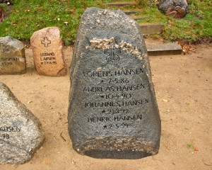 Mindesten for fire brødre på Broager kirkegård Foto: Museum Sønderjylland