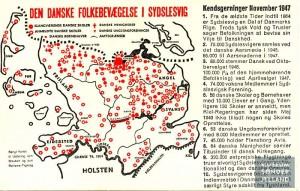 Postkort fra 1947 med præsentation af den danske bevægelse i Sydslesvig siden 1945 Museum Sønderjylland