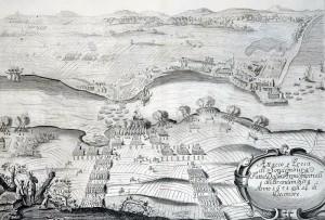 Polske og brandenburgske tropper krydser Alssund i december 1658 for at erobre Als og Sønderborg fra svenskerne Kobberstik 1658. Museum Sønderjylland - Sønderborg Slot . Foto: Do.