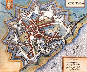 Tønning i Ejdersted, plan fra 1652 med den nye fæstning Stik af Johannes Mejer. Foto: Museum Sønderjylland - Arkæologi Haderslev