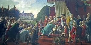 Hyldningen af Frederik IV på Gottorp i 1721 efter fordrivelsen af de gottorpske hertuger Maleri: Lorenz Frølich 1857. Museum Sønderjylland - Sønderborg Slot. Foto: do.